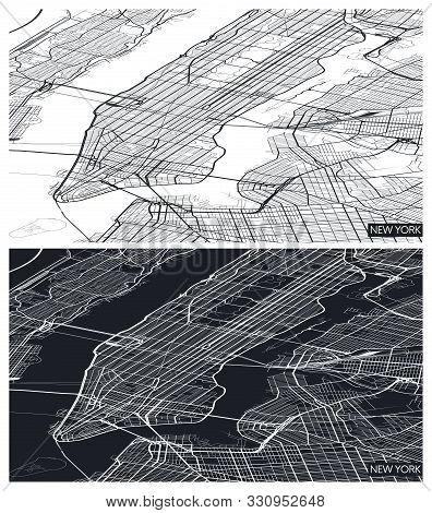 Aerial Top View City Map New York, Black And White Detailed Plan, Urban Grid In Perspective, Vector
