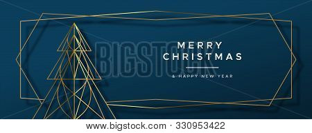 Merry Christmas And Happy New Year Web Banner Illustration Of Gold Luxury Xmas Pine Tree Frame In Ge