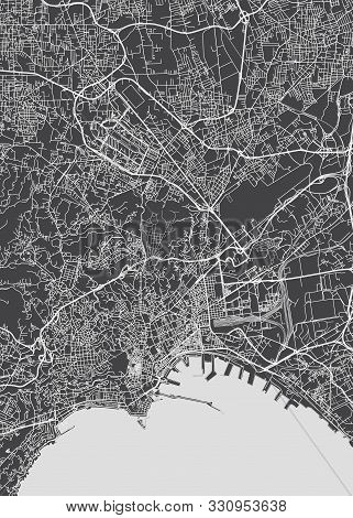 City Map Naples, Monochrome Detailed Plan, Vector Illustration Black And White City Plan