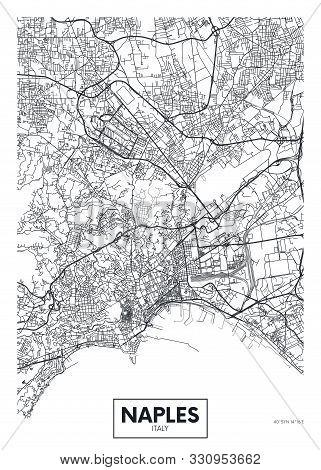 City Map Naples, Travel Vector Poster Design Art For Interior Decoration