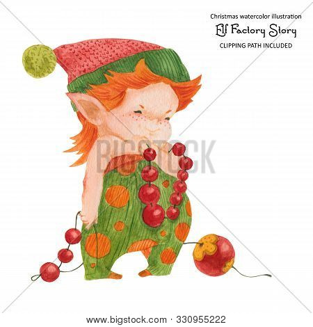 Christmas Elf Story, Elf Decorating New Year Tree, Isolated Watercolor And Clipping Path