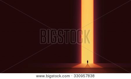 Man Silhouette In Front Of Glowing Portal, Futuristic Vector Background, Abstract Cyberpunk Architec