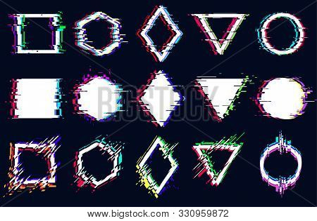 Vector Abstract Geometric Shapes With Glitch Effect, Digital Defect, Frame Distortion, Square, Hexag