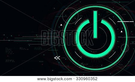 Tech Futuristic Technology Background With Power Button, Start Icon Sci-fi Vector Illustration