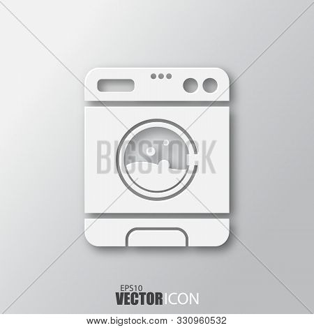 Washer Icon In White Style With Shadow Isolated On Grey Background.
