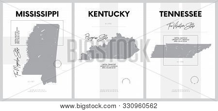 Vector Posters With Highly Detailed Silhouettes Of Maps Of The States Of America, Division East Sout