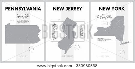 Vector Posters With Highly Detailed Silhouettes Of Maps Of The States Of America, Division Mid-atlan