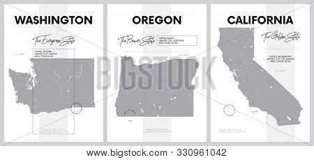 Vector Posters With Highly Detailed Silhouettes Of Maps Of The States Of America, Division Pacific -