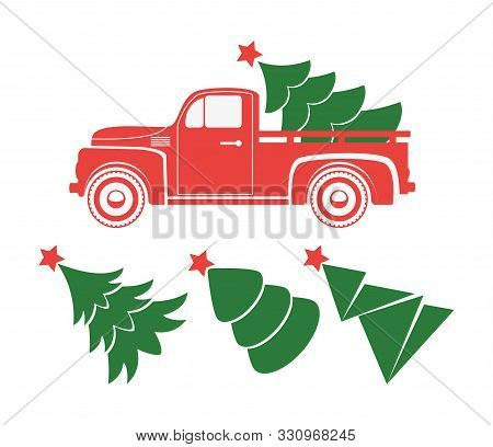 Vector Vintage Pickup Truck Delivery Of Christmas Tree. Old Red Car With Holiday Fir Tree And Set Of