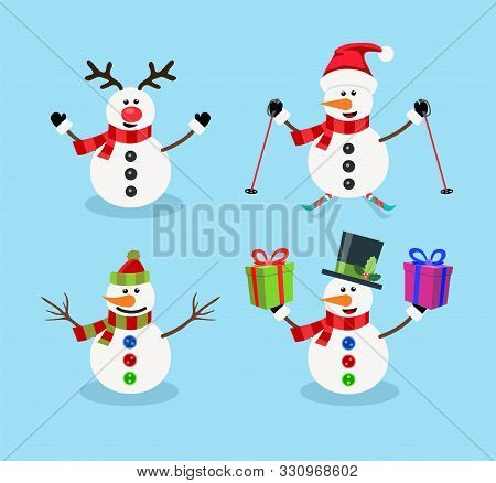 Vector Set Of Snowman Christmas Cartoon Characters Isolated On Blue Background.. Snowman With Reinde
