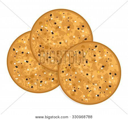 Vector Baked Round Cracker Chips. Top View Of Brown Multi Grain Cheese Crackers Isolated On White Ba