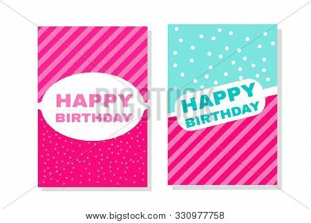Fashionable Girls Birthday Invitation. Vector Hand Drawn Illustration. Cute Banners Lol Doll Style V