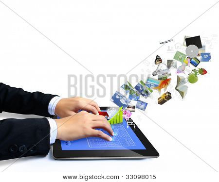 touch tablet concept images streaming from the deep isolated on white background