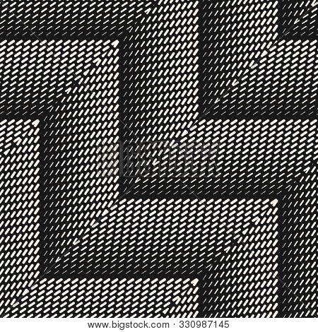 Chevron Seamless Pattern. Vector Geometric Halftone Texture With Small Lines, Fading Stripes, Zigzag