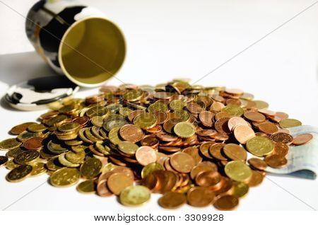 Money With Empty Money-Box. Shallow Dof