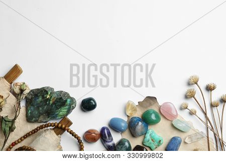 Composition With Different Gemstones On White Background, Top View