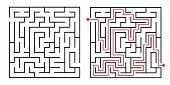 Labyrinth game way. Square maze, simple logic game with labyrinths way. How to find out quiz, finding exit path rebus or logic labyrinth challenge isolated vector illustration poster