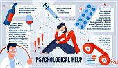 Informational Poster is Written Physiological Help. Man Having Physical Problem. Attachment or Bad Habit. Doctor Suggests Calling for Assistance. Guy Suffers from Alcohol and Drugs. poster