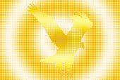 Dotted golden silhouette of a flying eagle over colored background poster
