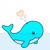 Cute baby whale cartoon character swimming in the big ocean with tail lifted up above the water and blowing a big heart water splash poster