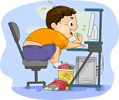 Illustration of an Overweight Boy Eating in Front of His Computer poster