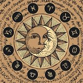 Vector circle of the Zodiac signs in retro style with icons, decorated with hand-drawn sun and crescent moon in black and beige colors. Banner with old manuscript in retro style written in a circle. poster