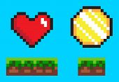 Pixel game elements, coin and heart in color. Flat style of 8bit graphics icons, animation videogames money and life symbol, wealth point sign. Pixel-art vector, pixelated 8 bit game objects poster