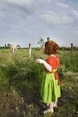 little girl looking at cow in field outside in rural area poster