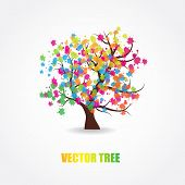 Abstract multicolored tree poster