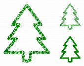 Fir-tree composition of unequal elements in various sizes and shades, based on fir-tree icon. Vector inequal elements are combined into composition. Fir-tree icons collage with dotted pattern. poster