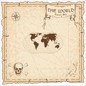 World treasure map. Pirate navigation atlas. Wagner projection. Old map vector. poster