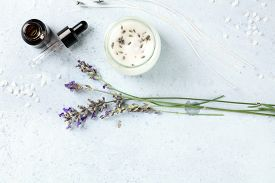 Handmade Lavender Scented Candle With Essential Oil, Flowers, Wax And Wicks, Flatlay, Shot From The