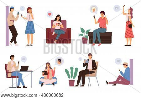 People Surfing Internet. Men And Women Spending Time Online Using Devices Laptop, Smartphones And Ta