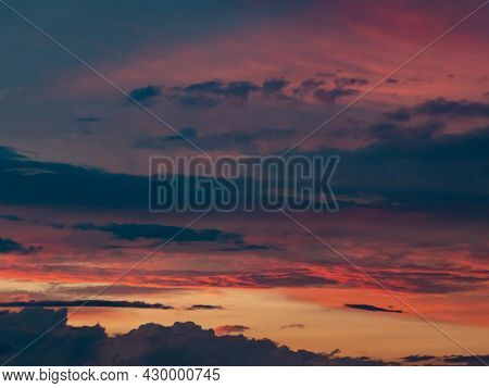 Fantastic Colorful Sunset With Cloudy Sky. Textured Sky Image Template. A Picturesque Image Of Drama
