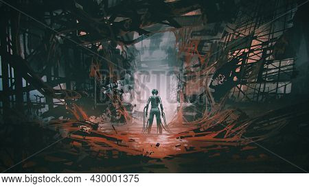 Futuristic Woman With Many Cables Connecting Her Body Standing In An Abandoned Building Full Of Red