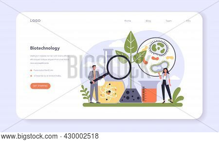 Biotechnology Industry Sector Of Economy Web Banner Or Landing Page.