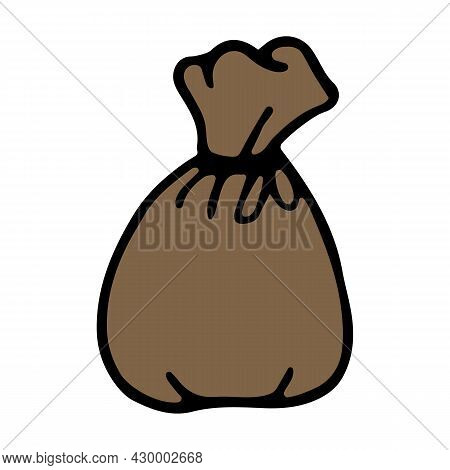 Cute Doodle Moneybag. Hand Drawn Icon Of Pouch. Vector Illustration