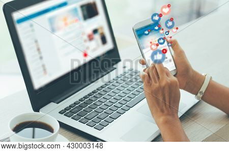 Young Businesswoman Using Smart Phone ,social, Media, Marketing Concept