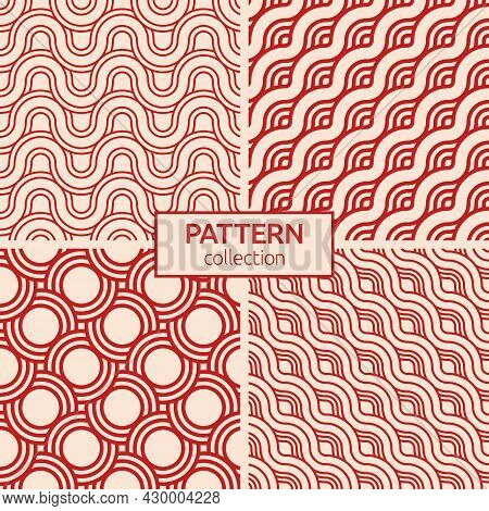 Set Of Four Abstract Japanese Seamless Patterns. Seamless Braided Linear Patterns, Wavy Lines. Endle