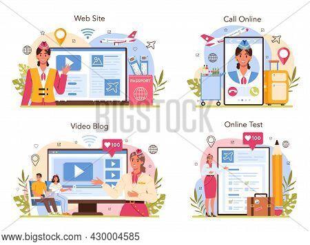 Stewardess Online Service Or Platform Set. Flight Attendants Help Passenger