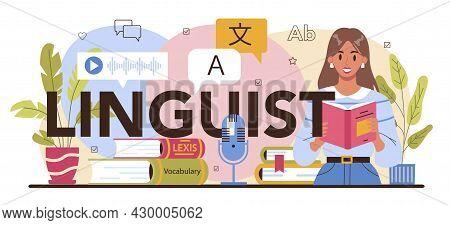 Linguist Typographic Header. Translator Translating Document, Books