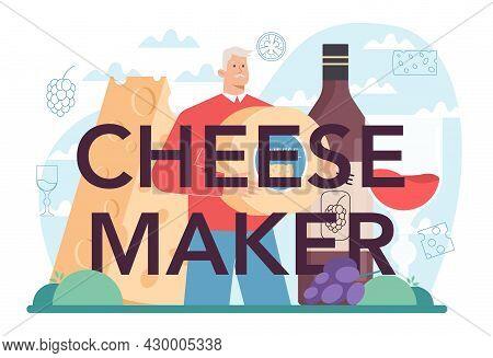 Cheese Maker Typographic Header. Professional Chef Making Block