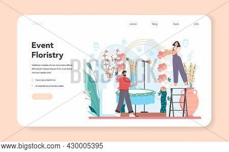 Event Floristry Web Banner Or Landing Page. Floral Designer Making Bouquet