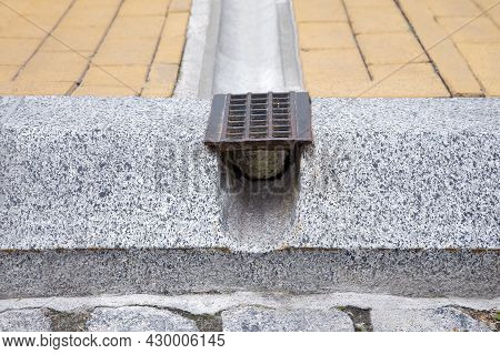 Drainage Grate System, Grill For Removal Of Rainwater From Stone Walking Paths Through Ditch And Hol