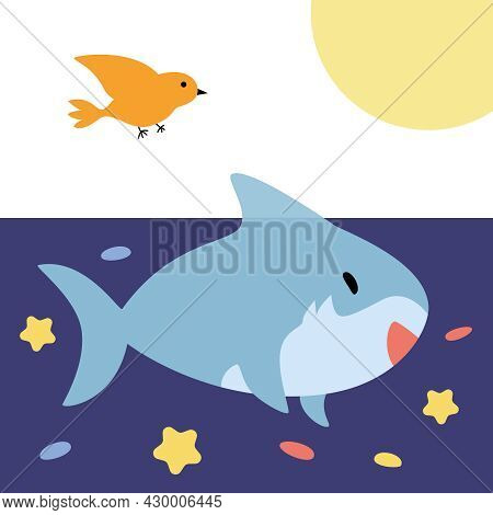Cheerful Cute Blue Shark Swims In The Sea World With Fishes.  Vector Illustration Of Marine Animals