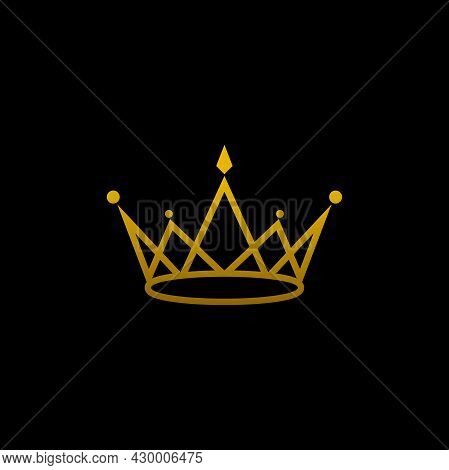 Crown Icon Isolated On Black Background. Crown Logo Vector. Royal Crown Logo Image. Crown Icon Simpl