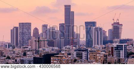 Tel Aviv Skyline And Ramat Gan, Givatayim At Sunset,  Tel Aviv Cityscape Large Panorama At Sunset Time, Israel
