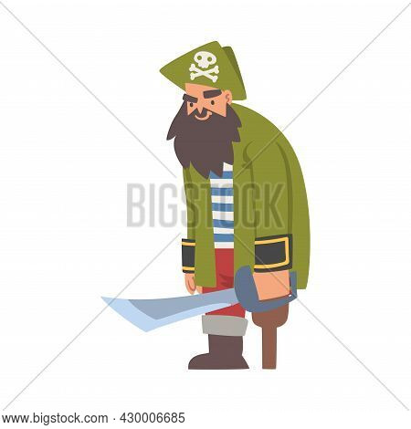 Bearded Brutal Man Pirate Or Buccaneer Character With Sabre And Wooden Leg As Marine Robber Vector I