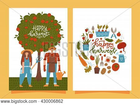 Happy Harvesting Cards. Set Of Vertical Banners With Smiling Farmers Harvesting. Fresh Natural Produ