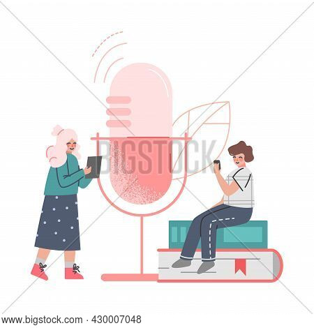 Podcast Or Spoken Episodic Serie Listening With Man And Woman Character Near Huge Microphone Using M